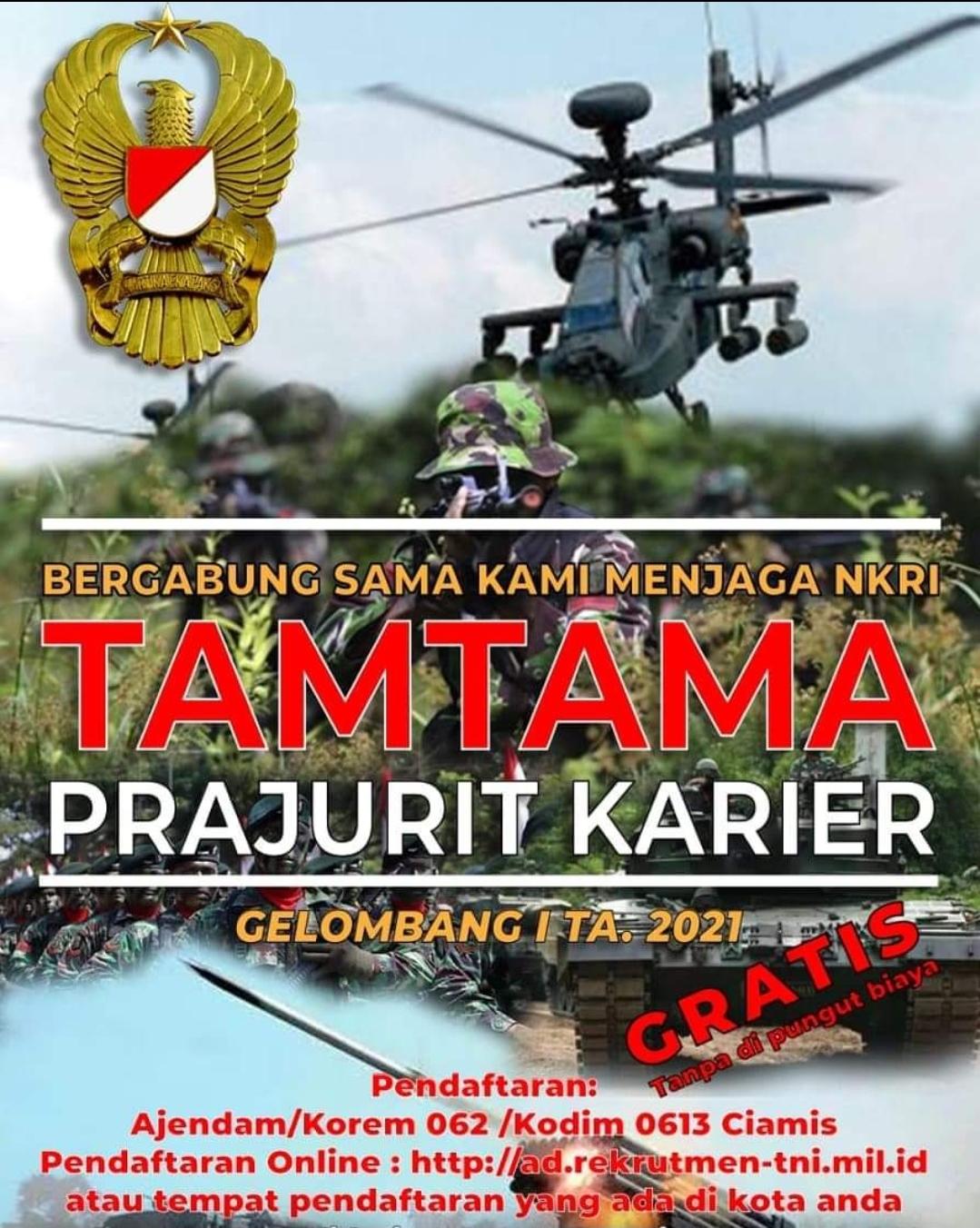 """Penerimaan Tamtama TNI AD Gel-1 TA. 2021 """"DIBUKA ..."""
